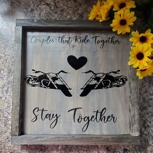 Hand Crafted   Couple Motorcycle sign wall art
